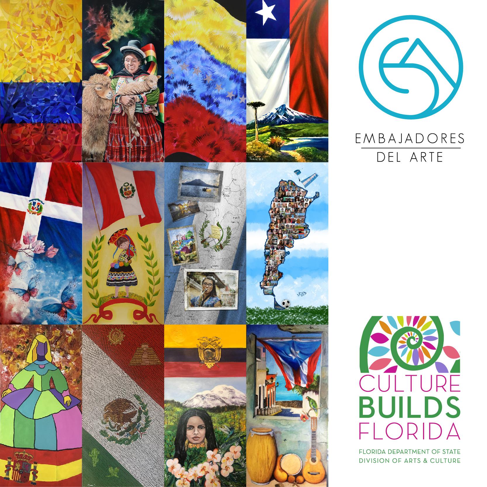 A collage of paintings by members of Embajadores del Arte